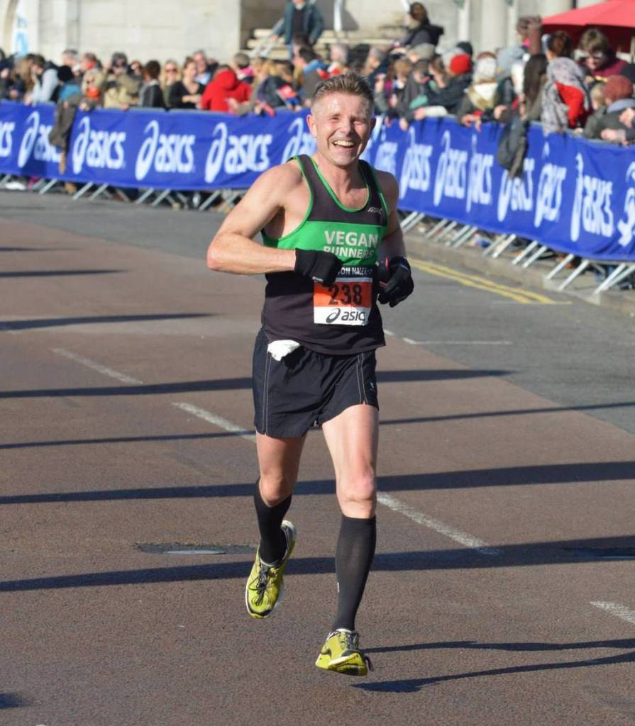 Dave Arnold in full flight at the Brighton Half
