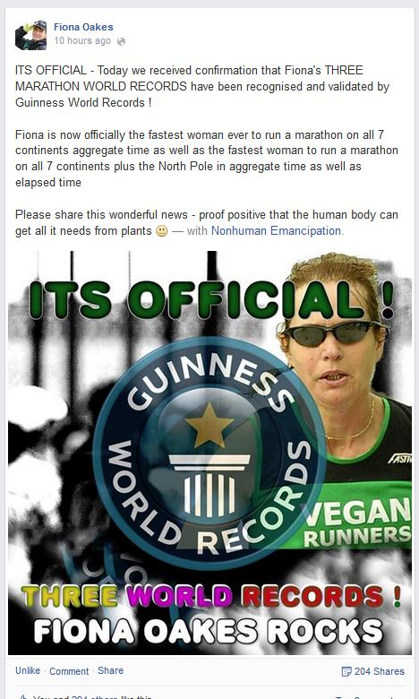 Fiona Oakes Guiness World Records