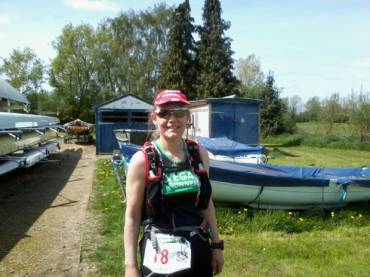 Claire Abbey at mile 95 of Thames Path 100 today